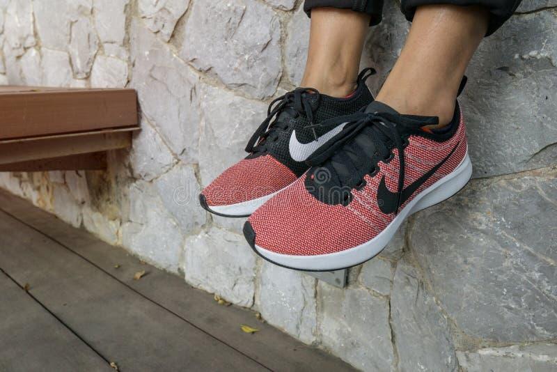 As sapatas cor-de-rosa de NIKE com a caixa vermelha das mulheres para o exercício no parque imagens de stock royalty free