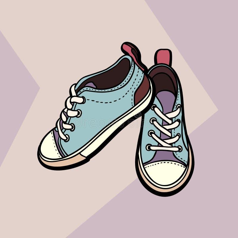 As sapatas das sapatilhas bege nude e azul emparelham-se isolado Sapatas tiradas m?o da ilustra??o Botas para o logotipo, cartaz  ilustração royalty free