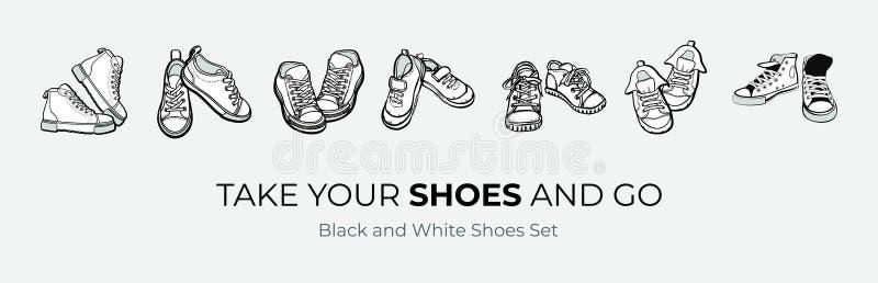 As sapatas das sapatilhas emparelham-se isolado Sapatas preto e branco tiradas mão da ilustração do vetor As botas do esporte ent ilustração royalty free