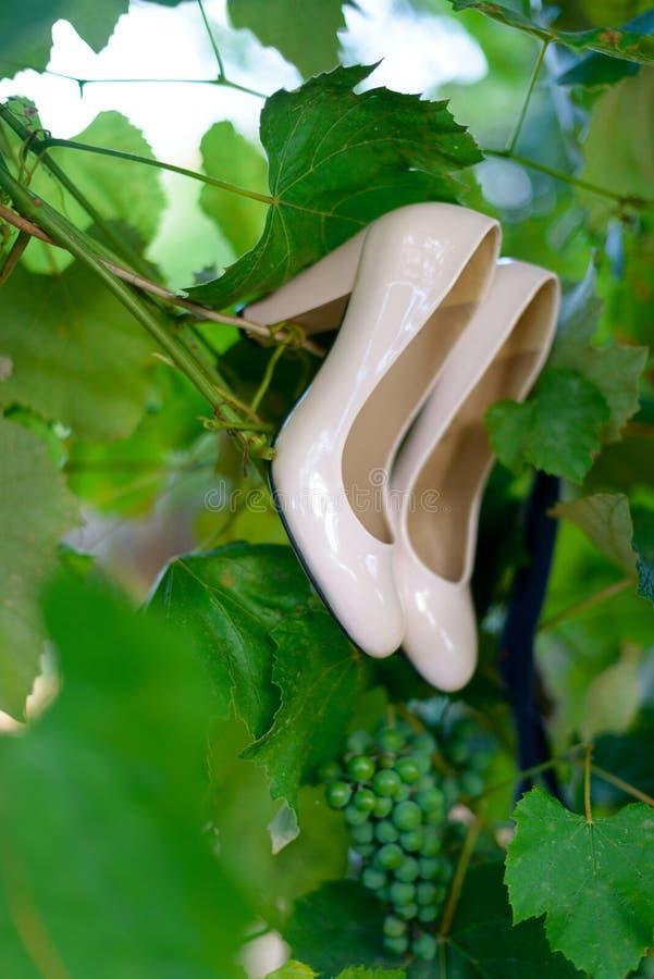 As sapatas do casamento das mulheres envernizaram a suspensão ao lado das uvas fotografia de stock royalty free