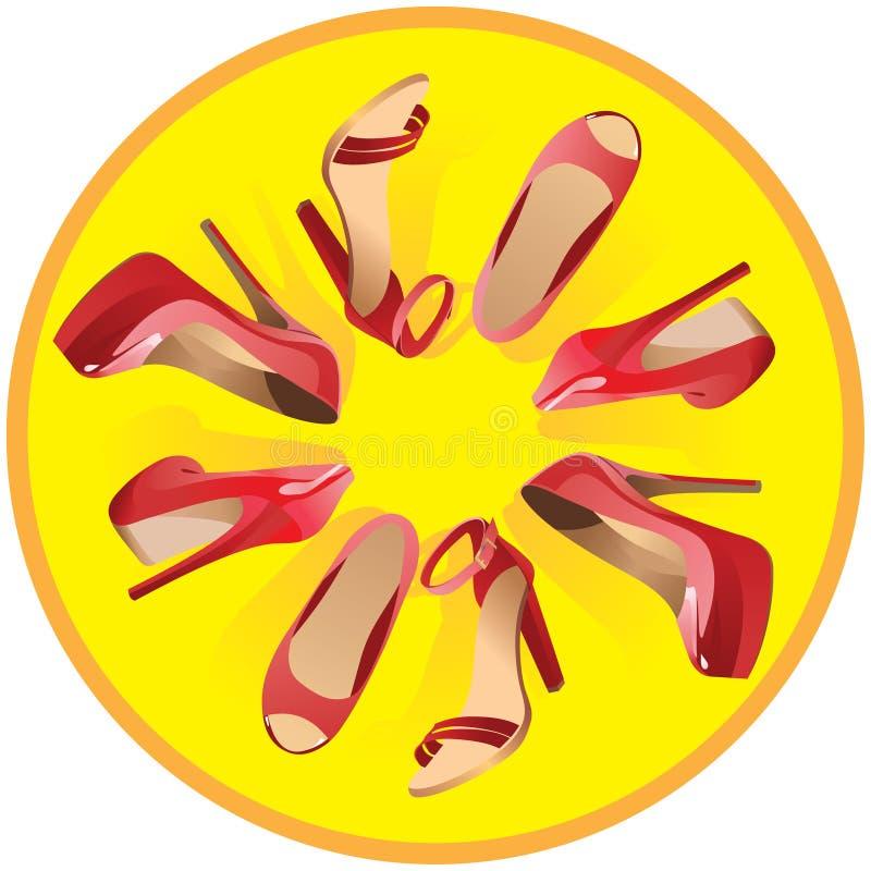 As sapatas vermelhas das mulheres em um fundo amarelo Vetor ilustração royalty free
