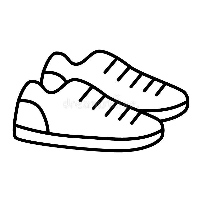 As sapatilhas diluem a linha ícone O esporte calça a ilustração do vetor isolada no branco Projeto do estilo do esboço dos calçad ilustração stock