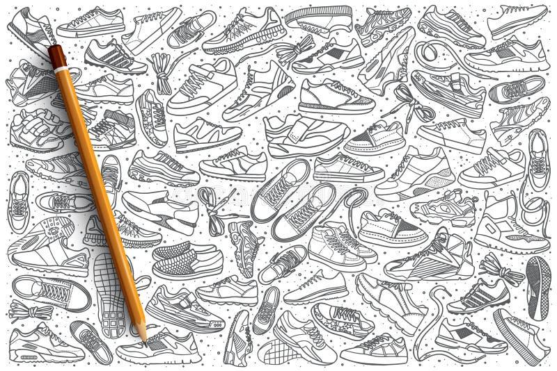 As sapatilhas tiradas mão ajustaram o fundo ilustração do vetor