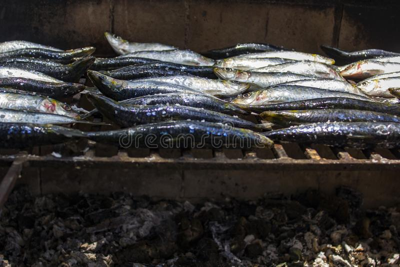 As sardinhas cruas frescas prepararam-se na grade do carvão vegetal portugal fotografia de stock royalty free