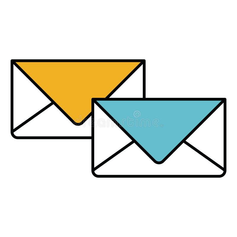 As seções da cor mostram em silhueta dos envelopes do correio ilustração royalty free