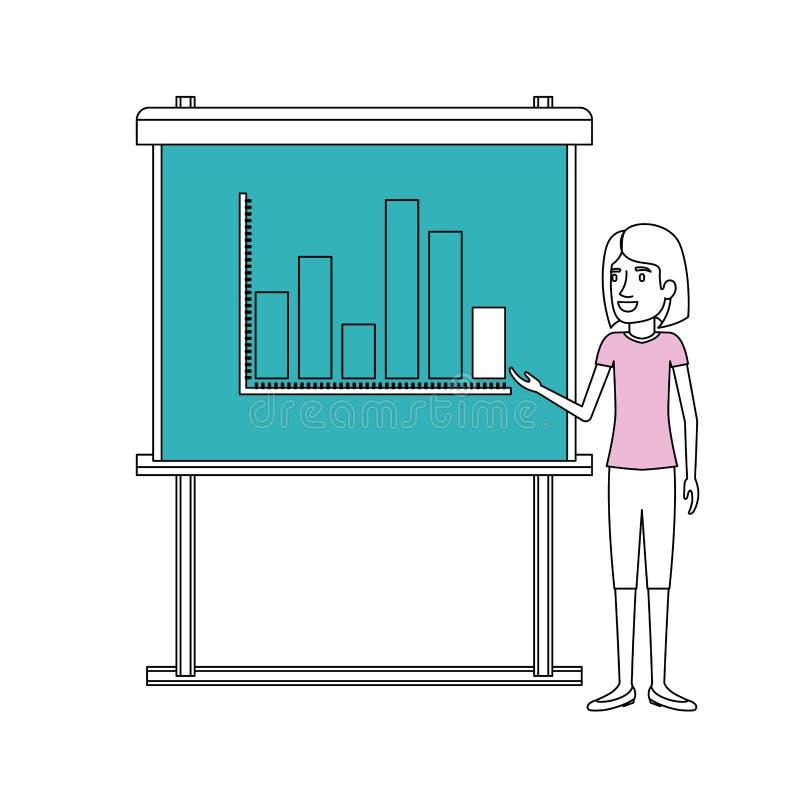 As seções da cor mostram em silhueta da mulher de negócios com o cabelo curto que faz a apresentação ilustração stock
