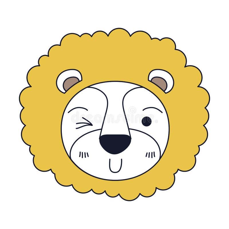 As seções da cor da silhueta da cara bonito do leão pisc a expressão do olho com juba ilustração royalty free