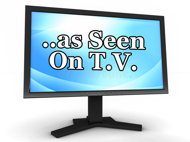 As seen on TV. Text as seen on tv on a tv monitor, concept of advertisement in other media supported by television ads royalty free illustration