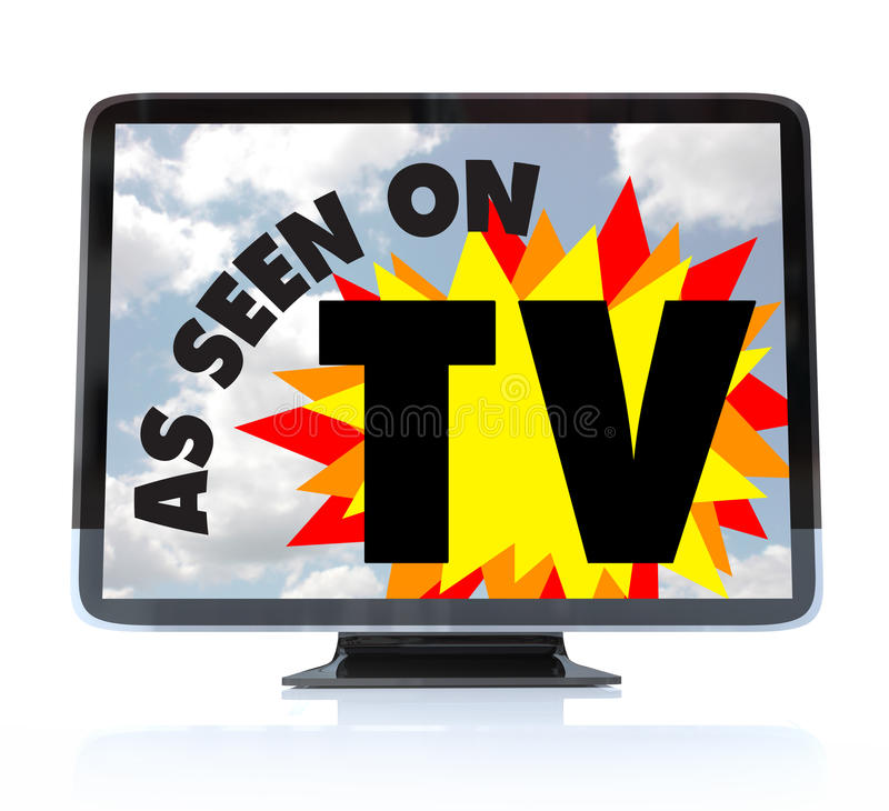 As Seen on TV - High Definition Television HDTV. A HDTV television with the words As Seen on TV on the screen vector illustration