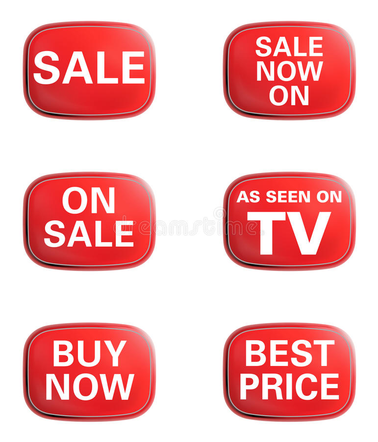 As seen on TV, Sale. Advertising icon set stock illustration