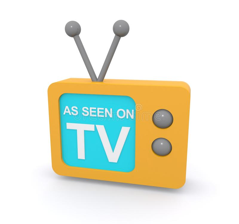 As seen on TV sign. On retro television set with aerial, white background stock illustration