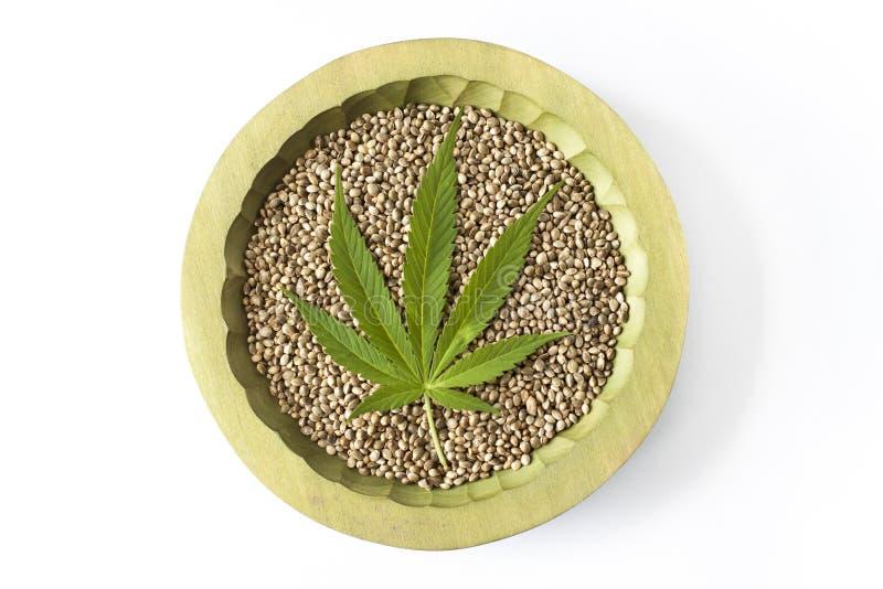 As sementes de cânhamo cruas da folha verde da marijuana fecham-se acima imagem de stock royalty free