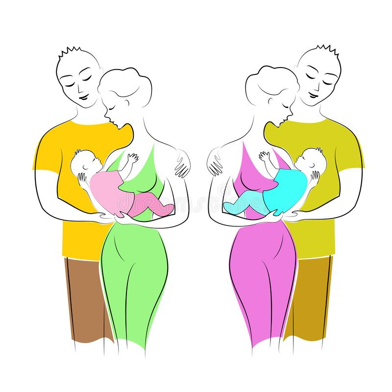 As senhoras bonitas guardam um rapaz pequeno e uma menina em seus braços Os homens abraçam mulheres Pai, m?e e crian?a Duas famíl ilustração do vetor