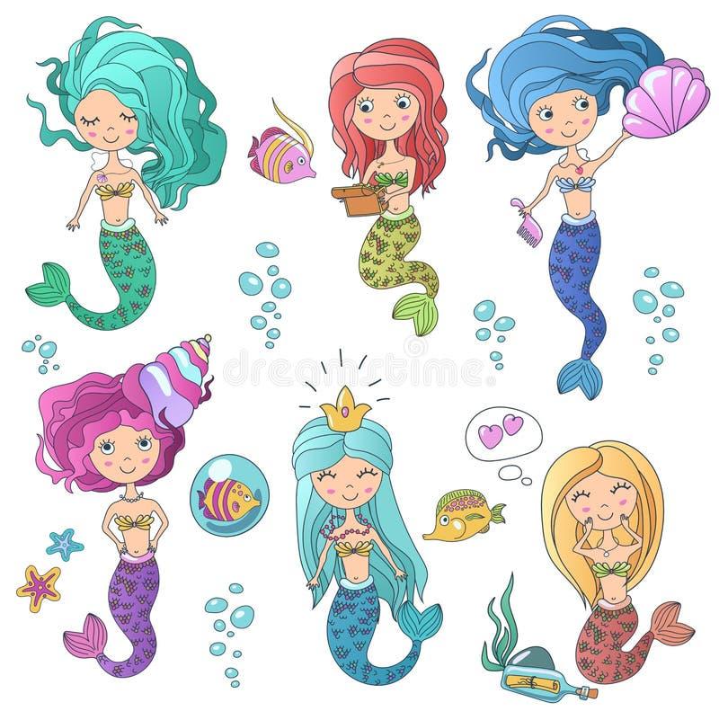 As sereias bonitos bonitas das sirenes ajustaram-se com elementos do mar Linha de cor ilustração tirada mão da sereia da sirene d ilustração do vetor