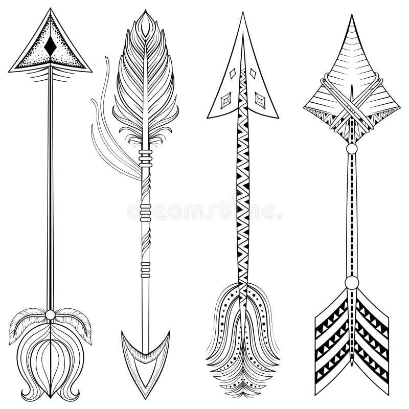As setas étnicas do vetor no zentangle projetam, conceito Ame tirado mão ilustração royalty free