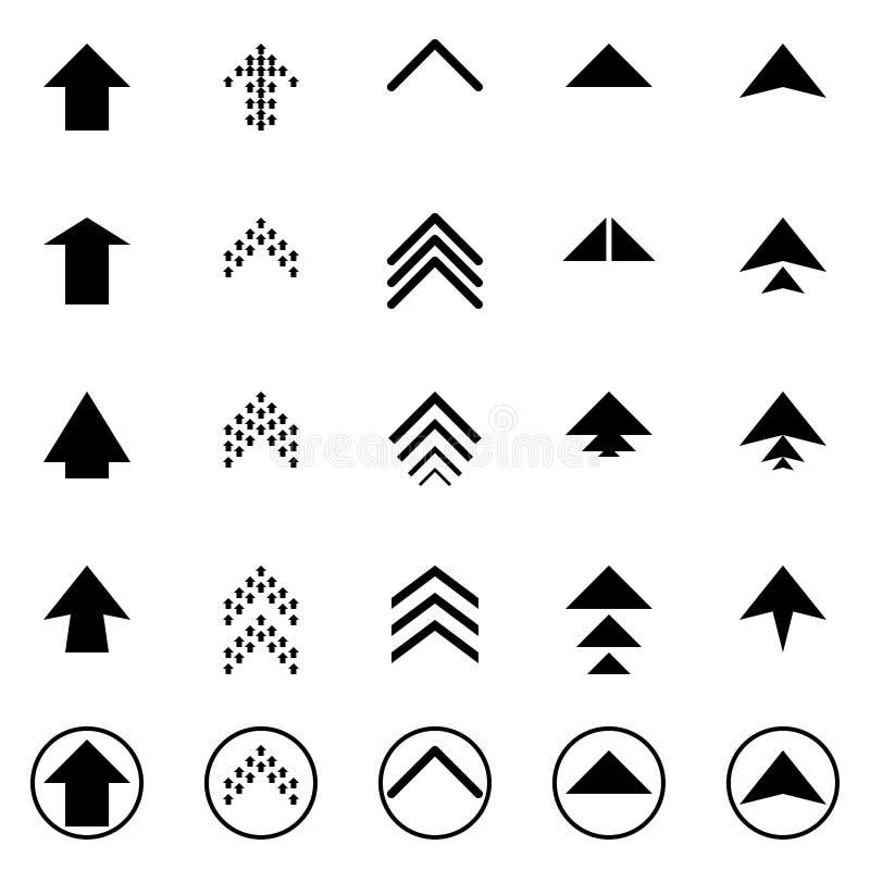 As setas ascendentes seguintes pretas ajustaram a coleção digital do botão do sinal do logotipo dos ícones do ponteiro do símbolo ilustração royalty free
