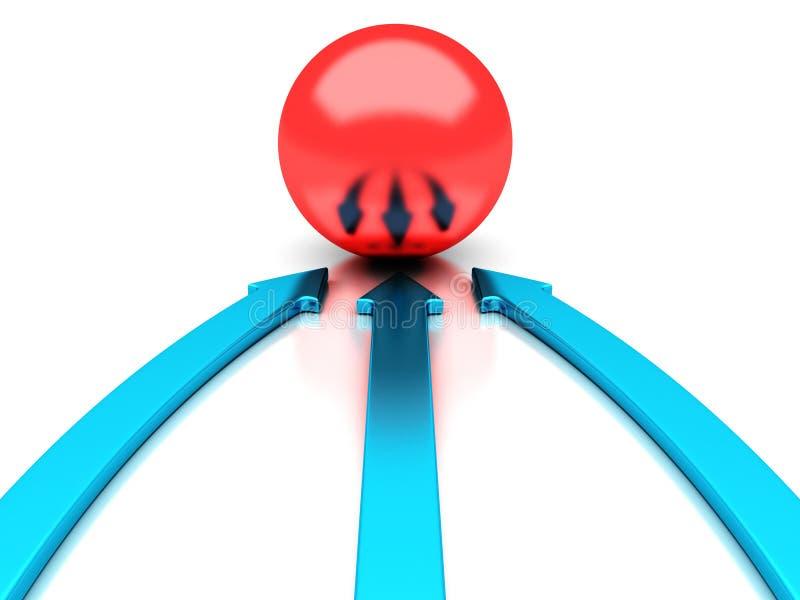 As setas azuis que apontam ao sucesso vermelho da esfera centram-se ilustração do vetor
