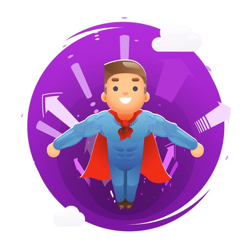 As setas bonitos felizes de voo do caráter do super-herói escavam um túnel a ilustração lisa do vetor do projeto do fundo ilustração royalty free