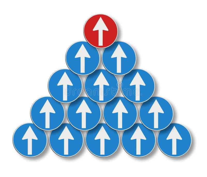As setas brancas seguem uma seta vermelha - conceito da liderança fotos de stock