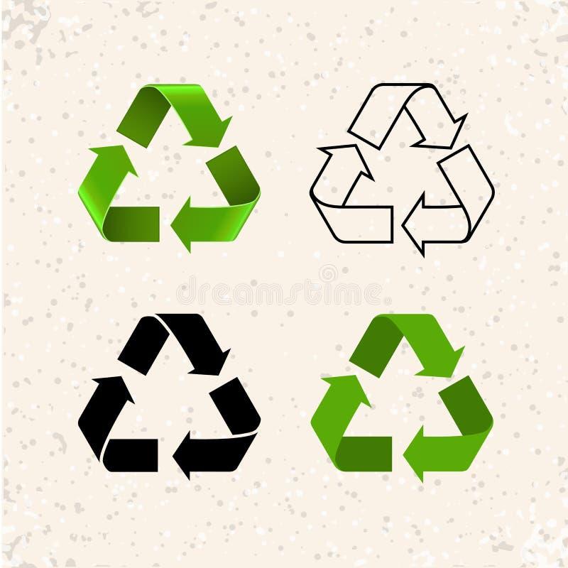 As setas circulares, vetor reciclam os ícones isolados no branco ilustração royalty free