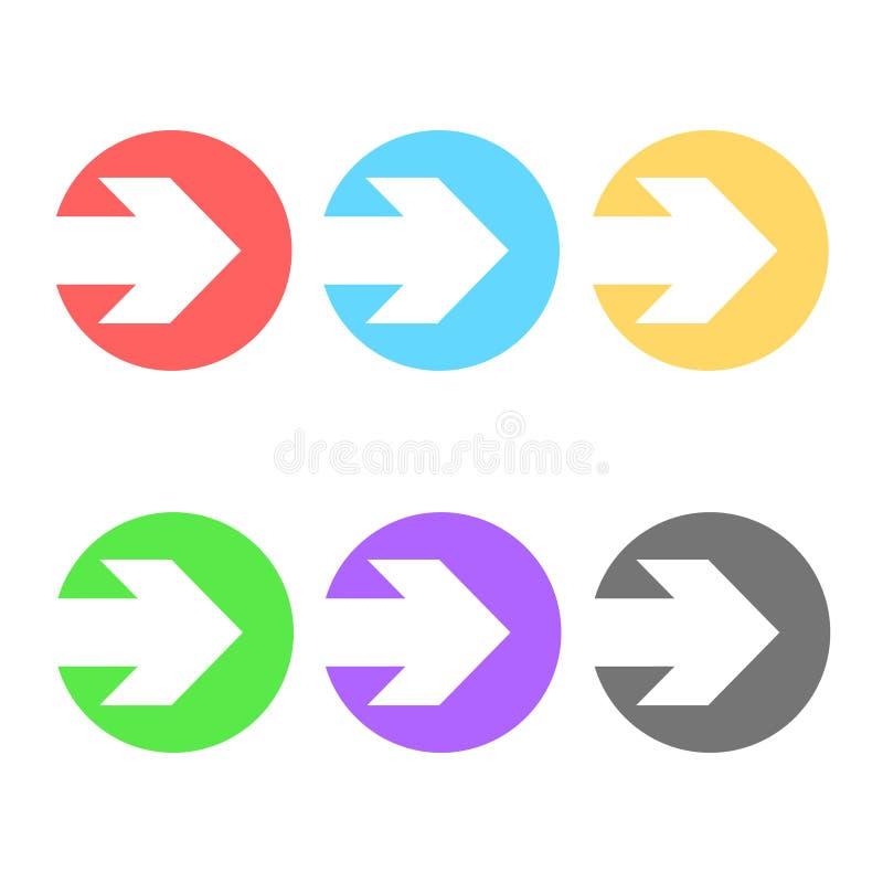 As setas coloridas no ícone do círculo abotoam-se, a ilustração conservada em estoque do vetor ilustração stock