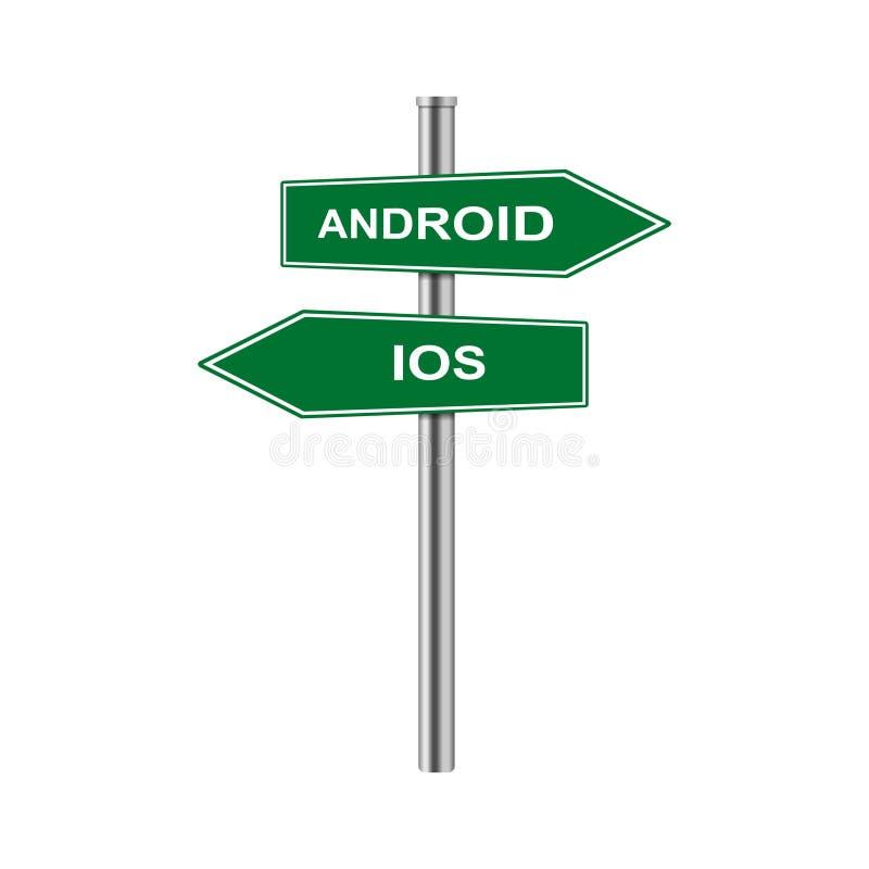 As setas conservadas em estoque do vetor assinam o androide e o ios ilustração stock