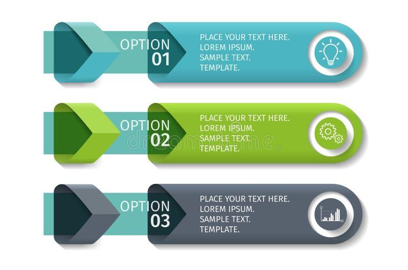 As setas de Infographic com 3 intensificam opções e os elementos de vidro Molde do vetor no estilo liso do projeto ilustração royalty free