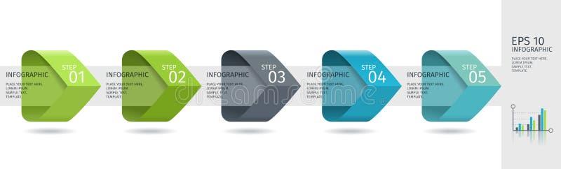 As setas de Infographic com 5 intensificam opções e os elementos de vidro Molde do vetor no estilo liso do projeto ilustração do vetor
