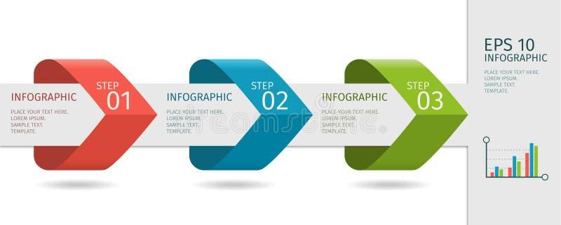 As setas de Infographic com intensificam opções Molde do vetor no estilo liso do projeto ilustração do vetor
