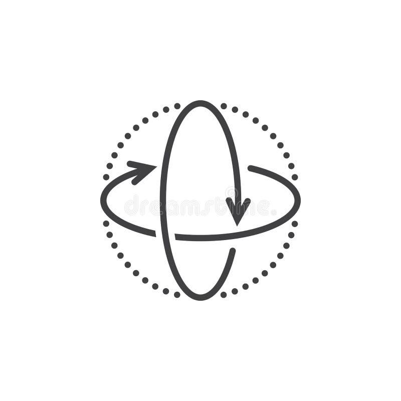 as setas de uma rotação de 360 graus alinham o ícone, esboço VE da realidade virtual ilustração royalty free