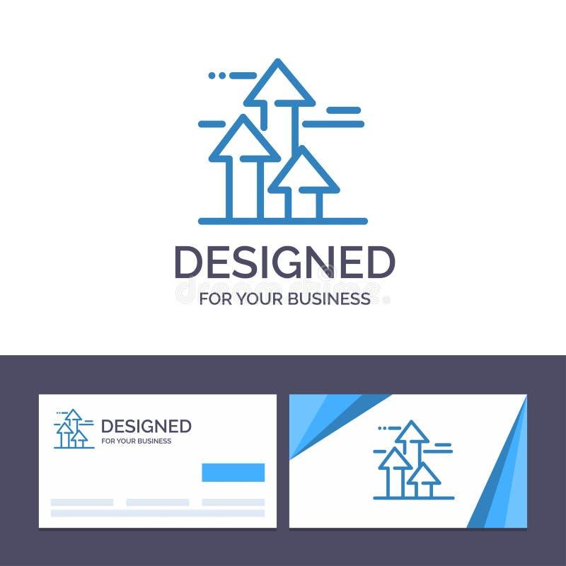 As setas do molde criativo do cartão e do logotipo, ruptura, quebrar, dianteira, limitam a ilustração do vetor ilustração royalty free