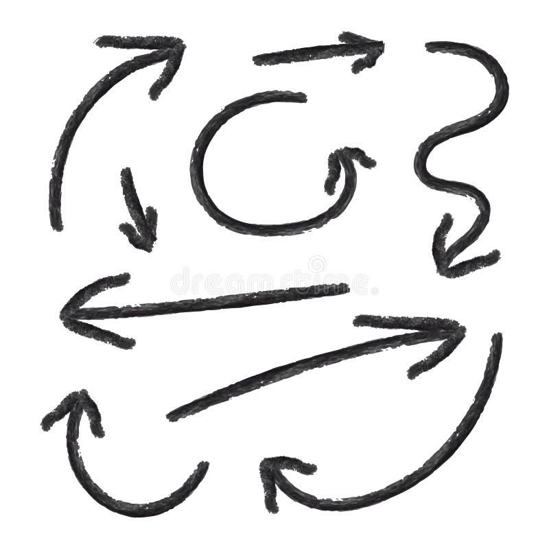 As setas do vetor ajustaram-se, desenhos de l?pis, textura do giz, sinais de sentido pretos isolados ilustração do vetor