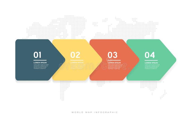As setas mínimas abstratas projetam com molde infographic do fundo do mapa do mundo ilustração stock