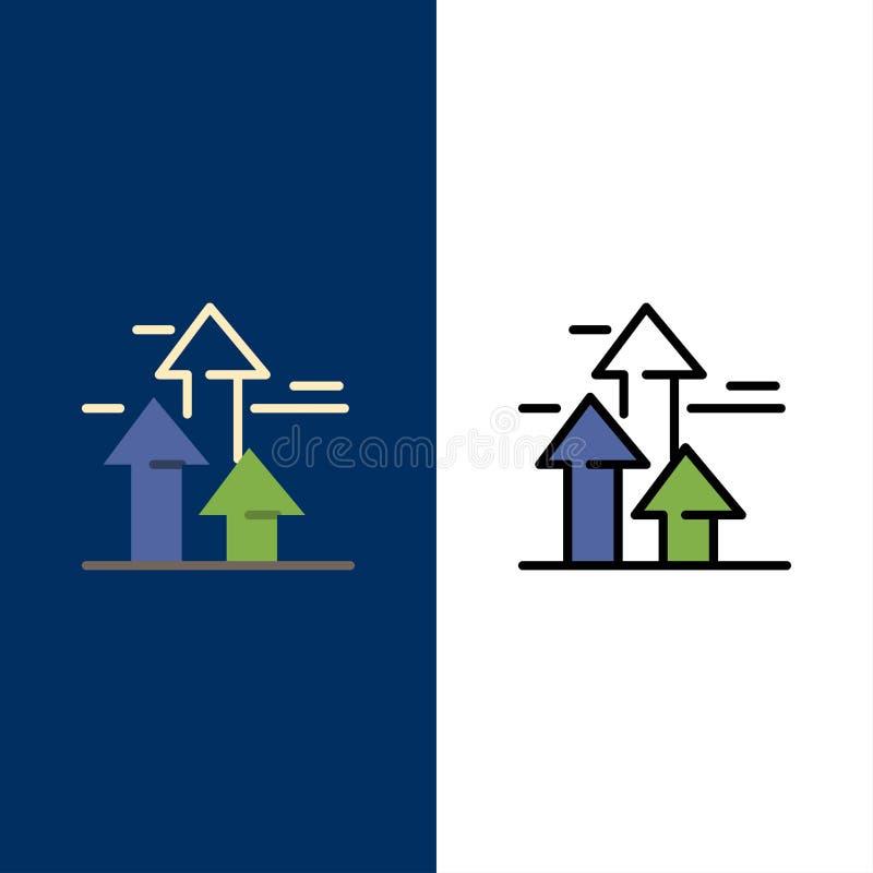 As setas, ruptura, quebrar, dianteira, limitam ícones O plano e a linha ícone enchido ajustaram o fundo azul do vetor ilustração do vetor