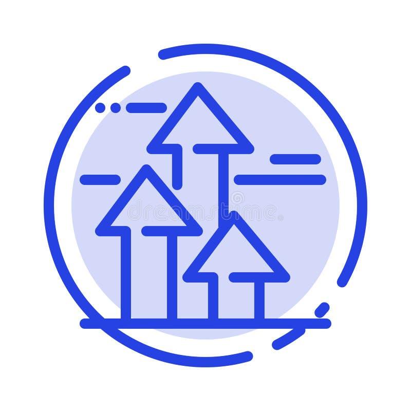 As setas, ruptura, quebrar, dianteira, limitam a linha pontilhada azul linha ícone ilustração stock