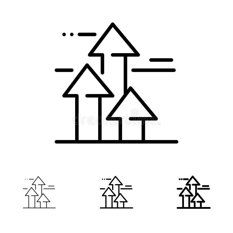 As setas, ruptura, quebrar, dianteira, limitam a linha preta corajosa e fina grupo do ícone ilustração royalty free