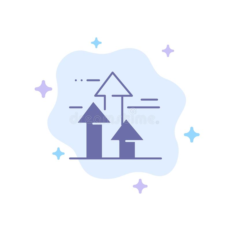 As setas, ruptura, quebrar, dianteira, limitam o ícone azul no fundo abstrato da nuvem ilustração stock