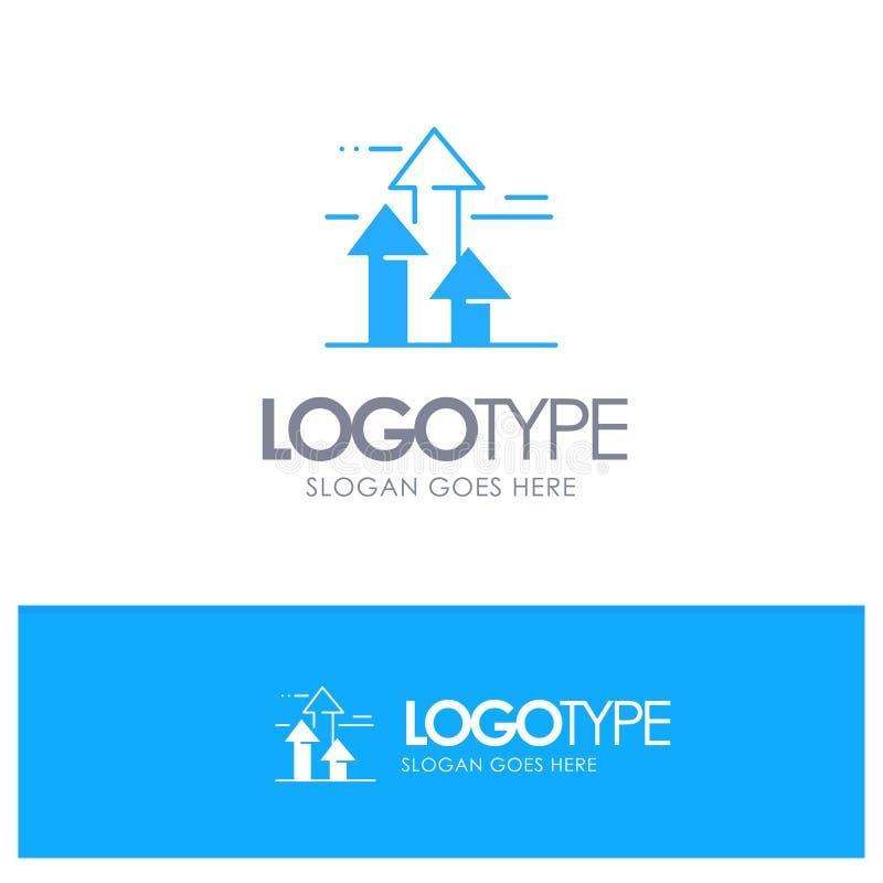 As setas, ruptura, quebrar, dianteira, limitam o logotipo contínuo azul com lugar para o tagline ilustração stock