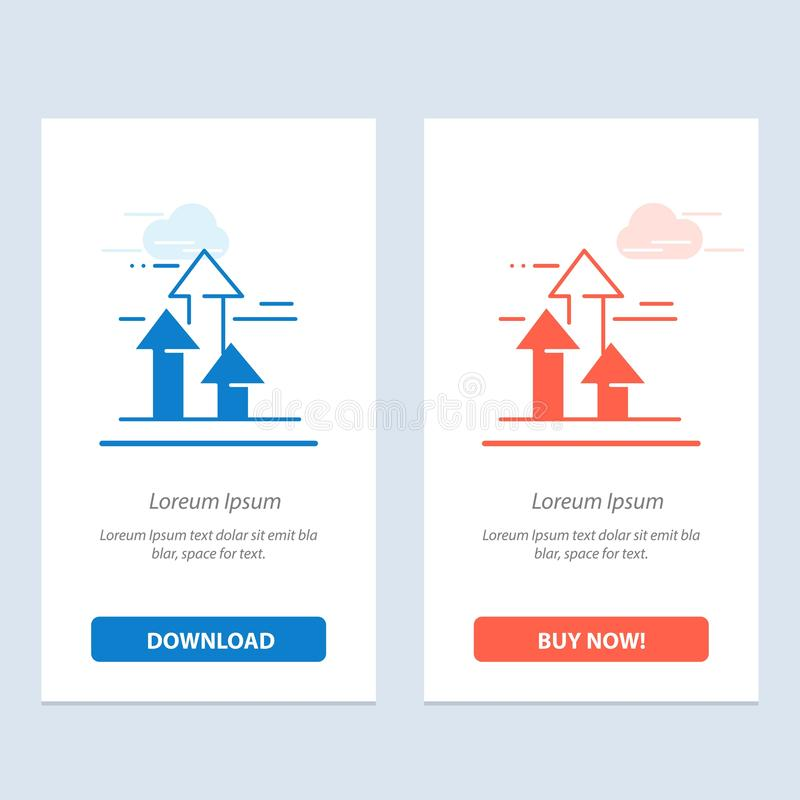 As setas, ruptura, quebrar, dianteira, limitam a transferência azul e vermelha e compram agora o molde do cartão do Widget da Web ilustração stock