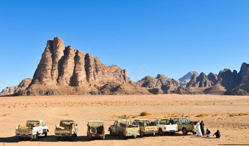 As sete colunas da sabedoria em Wadi Rum, Jordânia fotos de stock