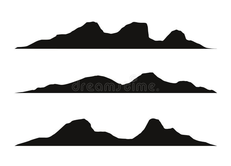 As silhuetas da montanha negligenciam Vector o vetor rochoso do terreno dos montes, grupo da silhueta das montanhas isolado no fu ilustração stock