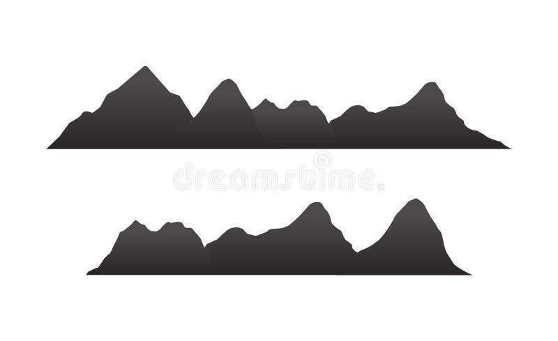 As silhuetas da montanha negligenciam Vector o vetor rochoso do terreno dos montes, grupo da silhueta das montanhas isolado no fu ilustração royalty free