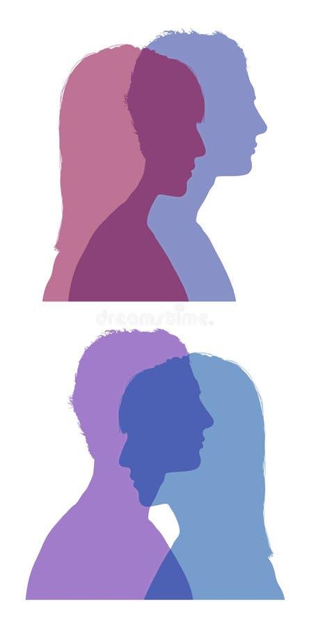 As silhuetas das caras do homem e da mulher ajustaram 1 imagem de stock