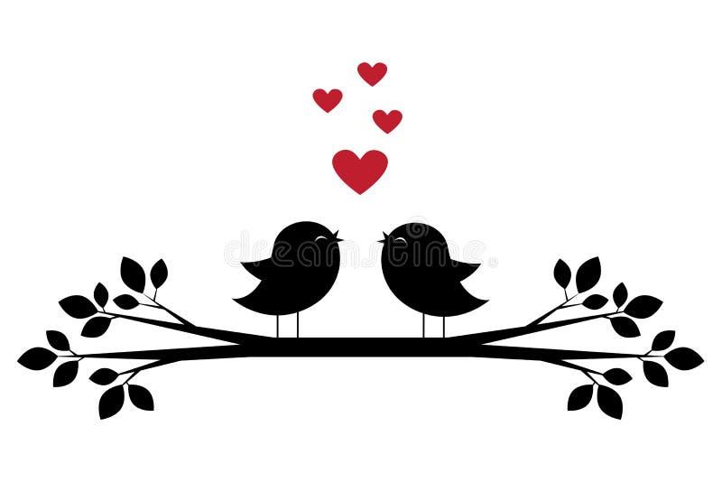 As silhuetas de pássaros bonitos cantam e corações vermelhos ilustração stock