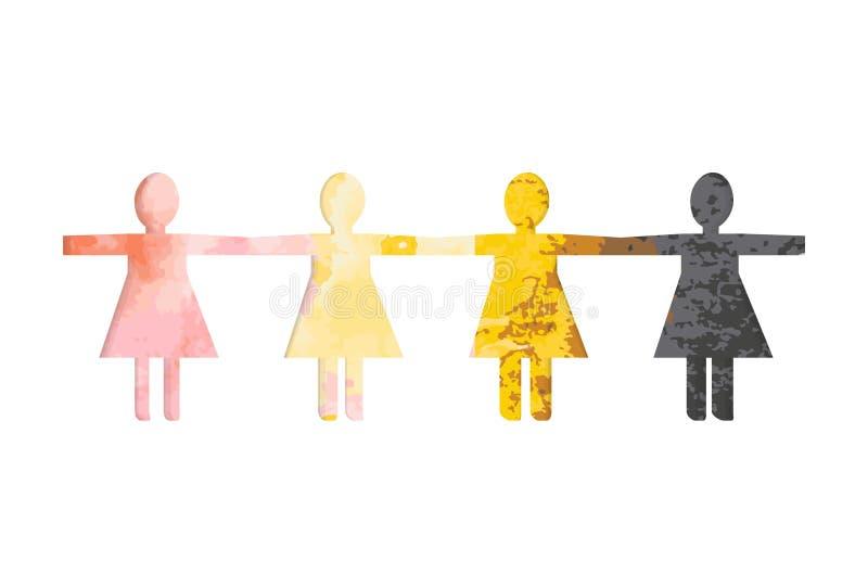As silhuetas de papel cortadas das mulheres contra um fundo da aquarela colorido mancham ilustração stock
