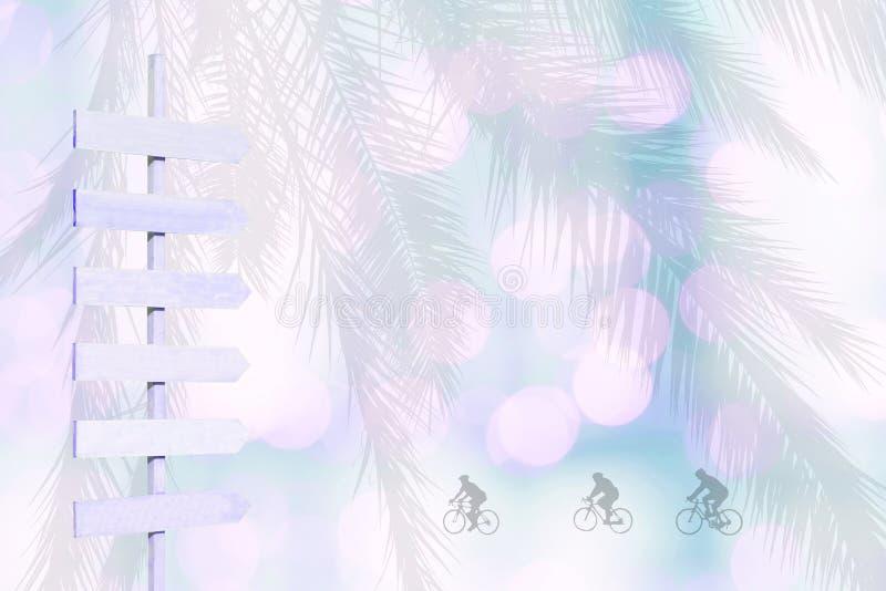 As silhuetas do ciclista na seta de madeira da cor violeta sinalizam no verde obscuro do rosa das luzes brandamente imagens de stock royalty free
