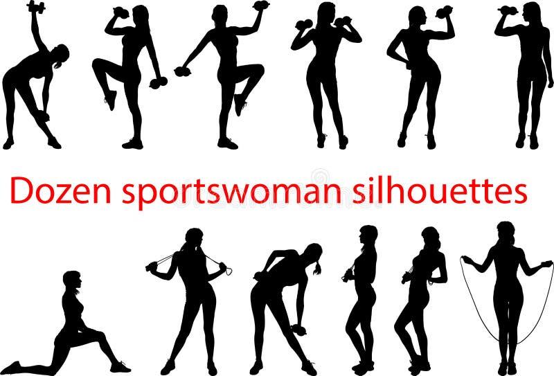As silhuetas do esporte couberam ilustração royalty free