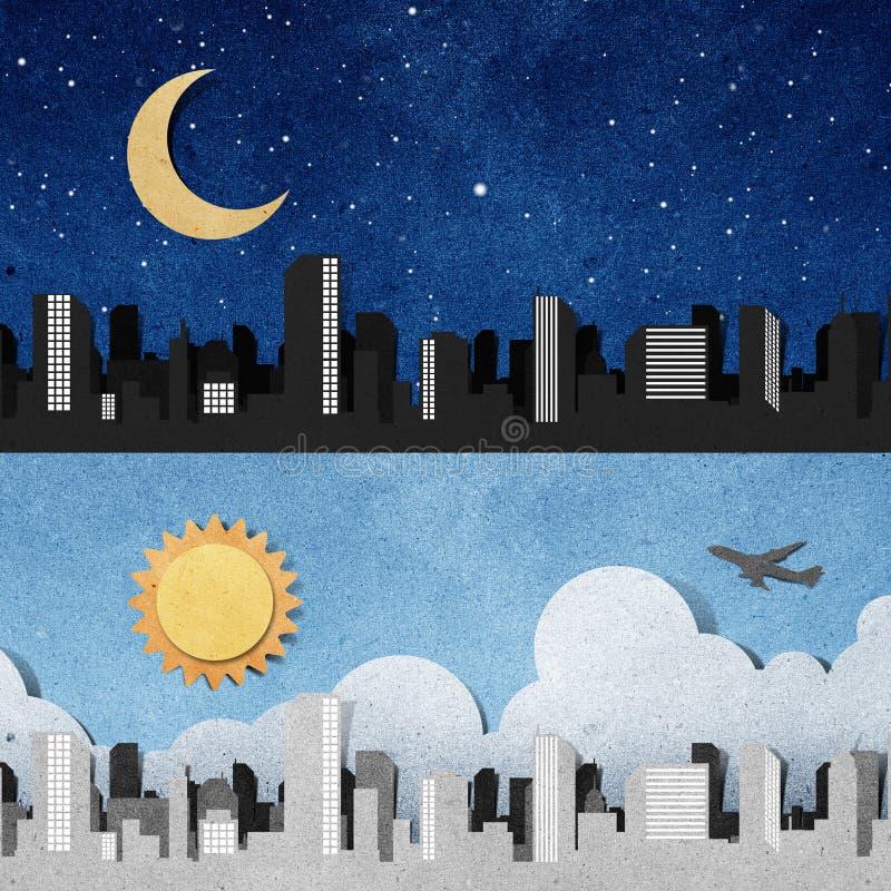 As silhuetas do panorama da cidade recicl o ofício de papel. ilustração do vetor