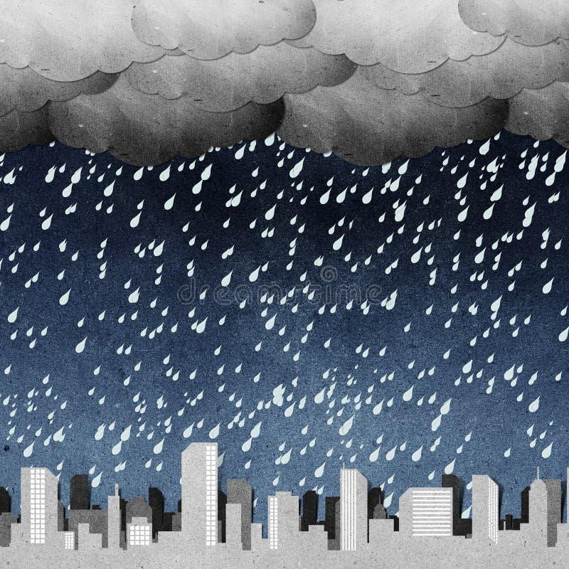 As silhuetas do panorama da cidade recicl o ofício de papel   ilustração stock