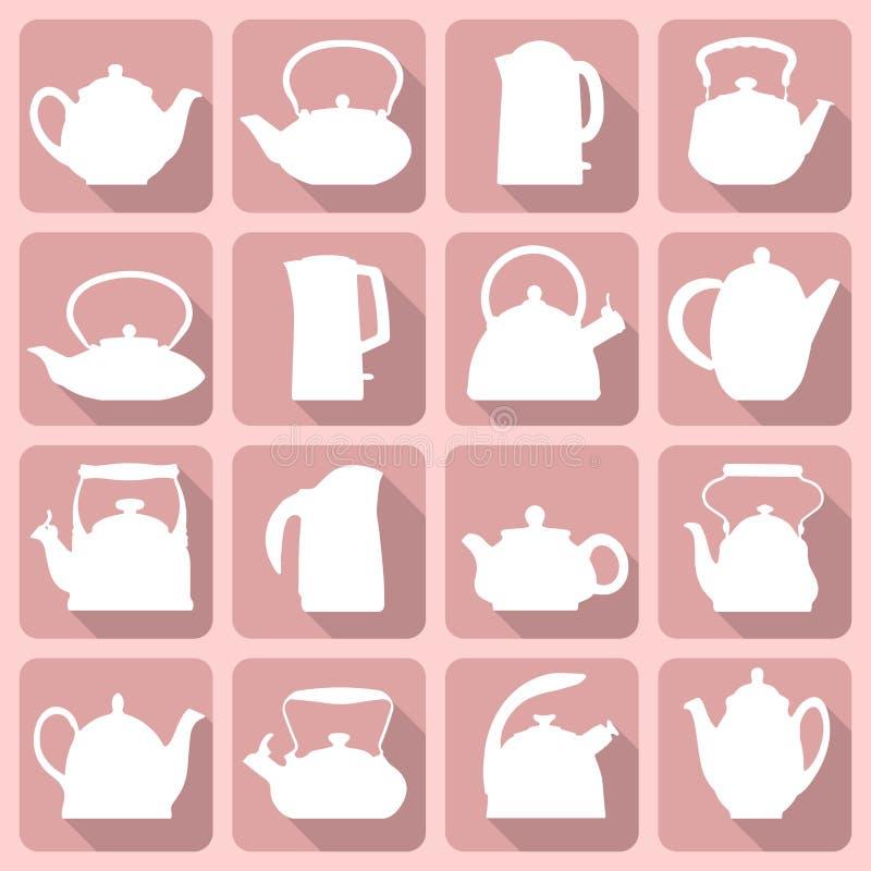 As silhuetas do vetor estilizaram o grupo liso do bule do logotipo isolado no rosa ilustração royalty free